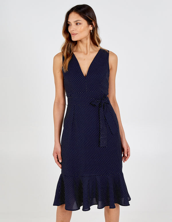 AYAANA - Frill Hem Polka Dot Midi Dress