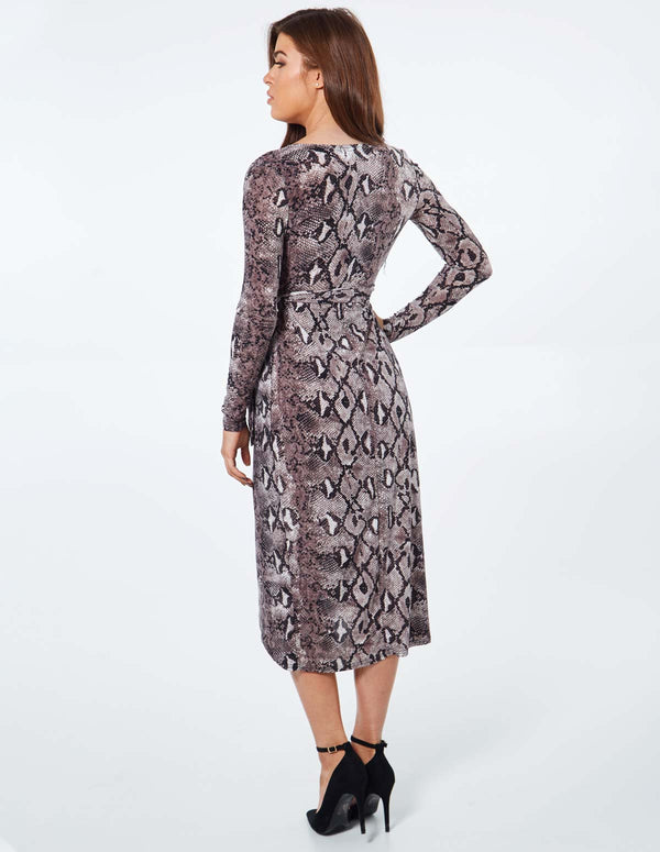 PRUNE - Long Sleeve Wrap Snake Print Midi Dress