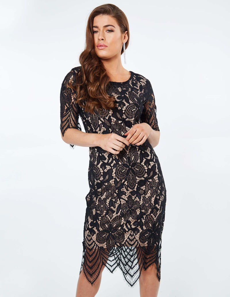 VANNA - Flower Lace Fitted Black Dress
