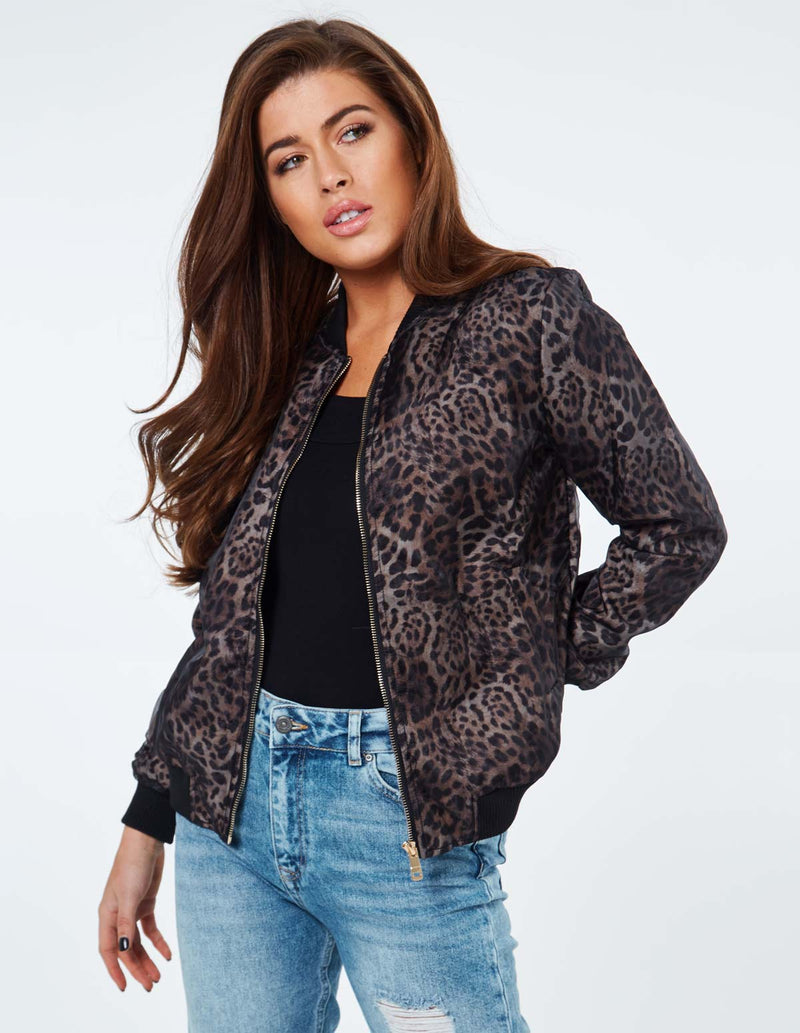 ROSALIA - Leopard Organza Layered Black Bomber Jacket