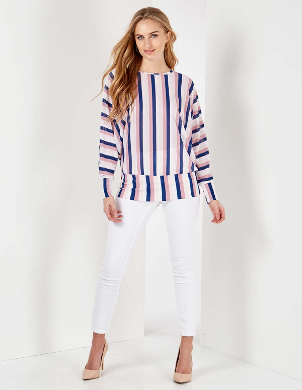 WENDY - Pink/Navy Stripes Waistband Batwing Top