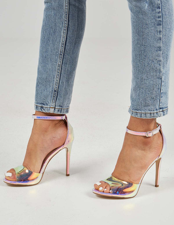 LYDIA - Perspex Ankle Strap Purple High Heel
