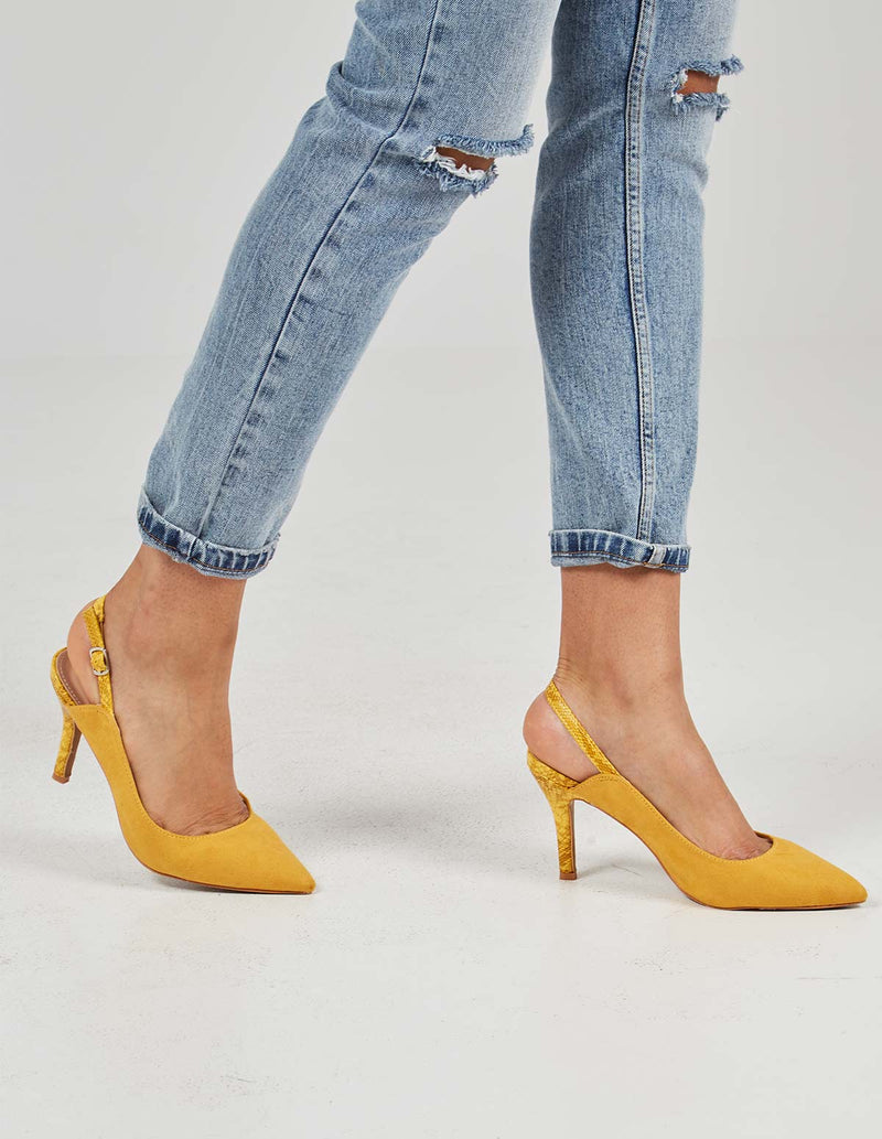 MELANIE - Pointed Slingback Yellow Pumps