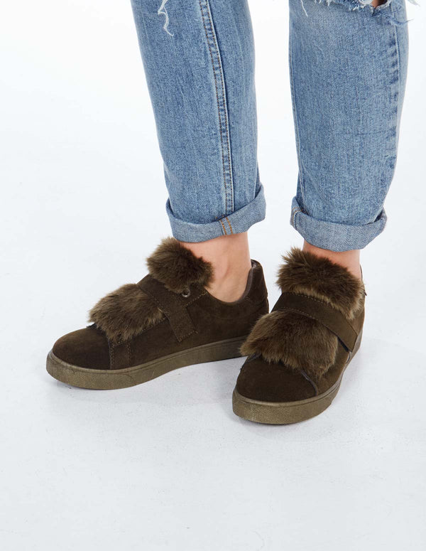 DELISE - Suede Faux Fur Green Trainers
