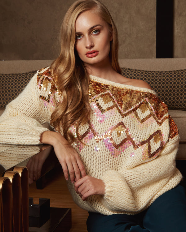 BEAH - Multi Coloured Diamond Slouch Beige Jumper