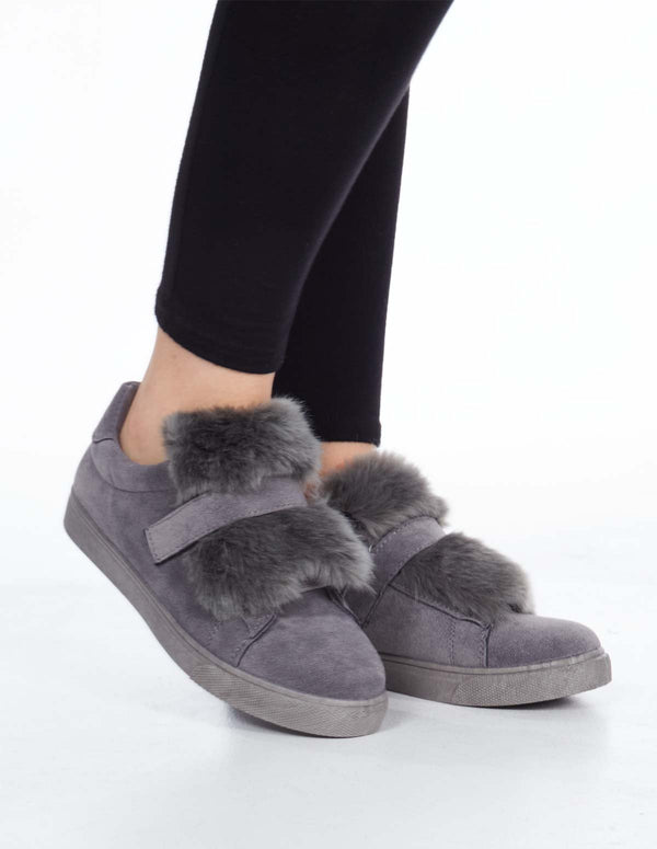 DELISE - Suede Faux Fur Grey Trainers