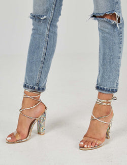TAYLOR - Lace Up Perspex Strap Snakeskin High Heel