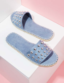 DAVINA - Blue Studded Espadrille Sliders