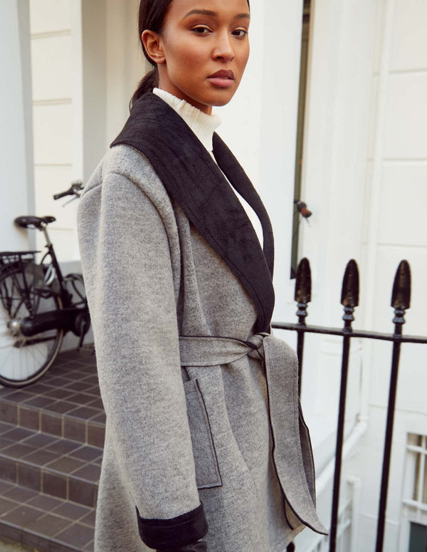 VANITA - Contrast Wrap Grey Tie coat