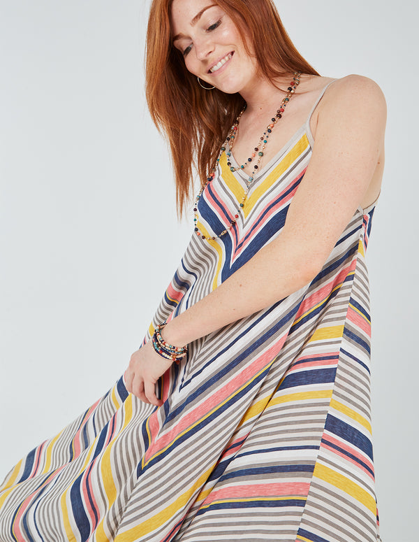 KATLIN - Asymmetric Stripe Print Maxi Dress