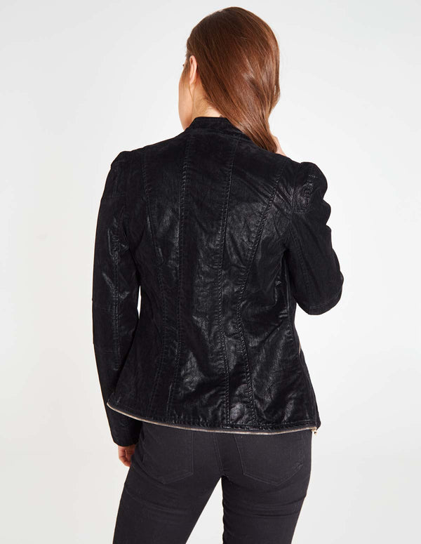 NASIA - Zip Trim Detail Biker Black Jacket