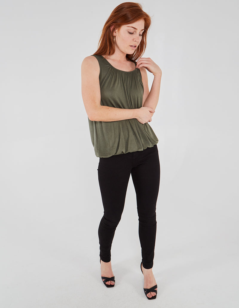 SABANA - Sleeveless Elasticated Waist Khaki T Shirt