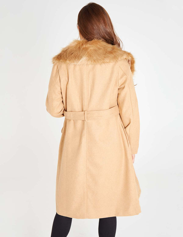 CATHY - Fur Collar Beige Long Coat