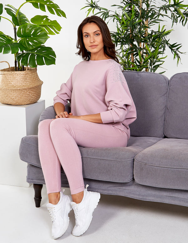 GISELLE - Pink Diamonds Shoulder Detail Jumper & Leggings Set
