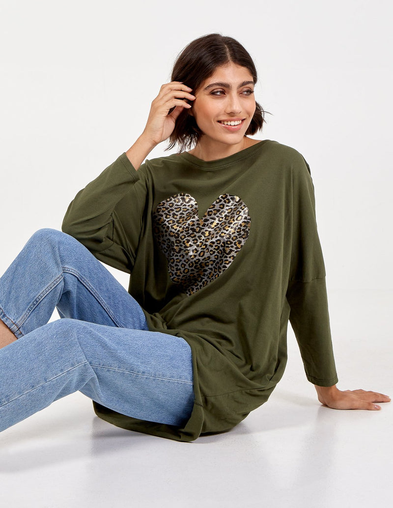 ENYA - Metallic Heart Batwing Top
