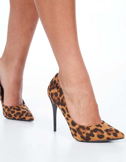 DEBORAH- Pointed Toe Leopard Print High Heels
