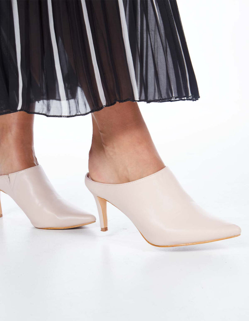 LENAE - High Heeled Beige Mules