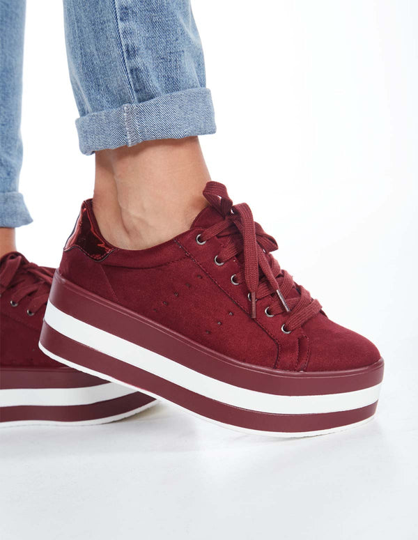 AMIRA - Lace Up Platform Wine Trainers