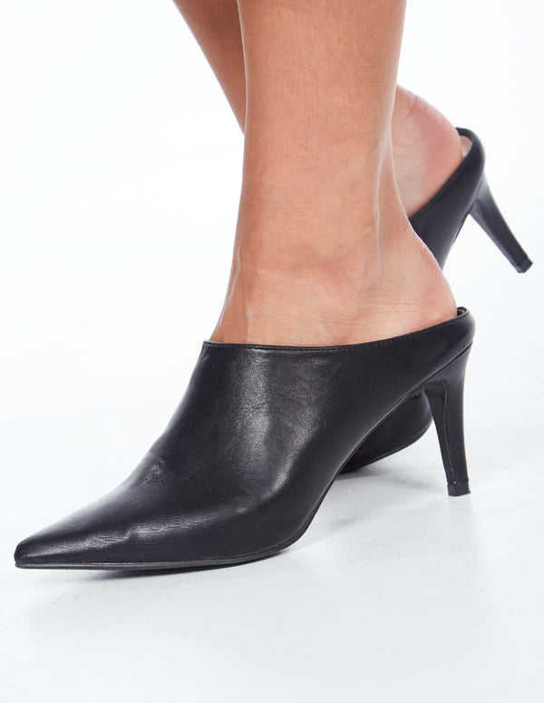 LENAE - High Heeled Black Mules