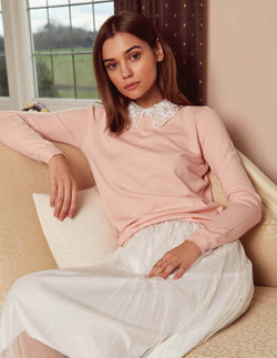 LORALYN - Organza Lace Collar Pink Jumper