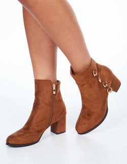 TESSA - Ring Detail Block Heel Ankle Camel Boots