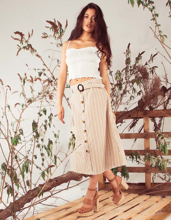 AMY - Stripe Button Front Natural Skirt