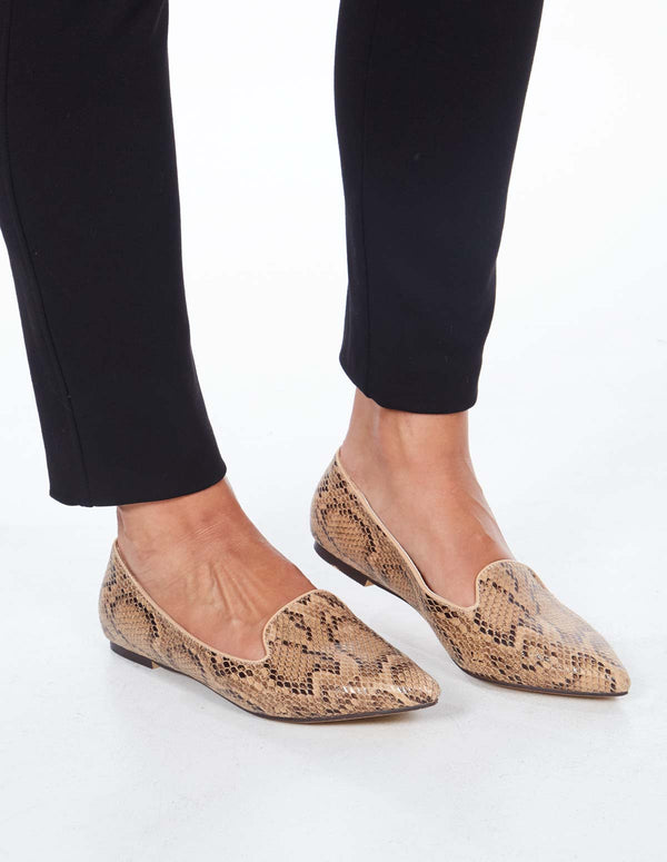 JAYNI - Faux Snakeskin Pointed Apricot Pumps