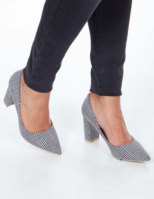 NATASHA - Pointed Toe Checked Print Block Heel