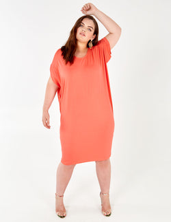 BRIENNE - Coral Oversized Batwing Dress