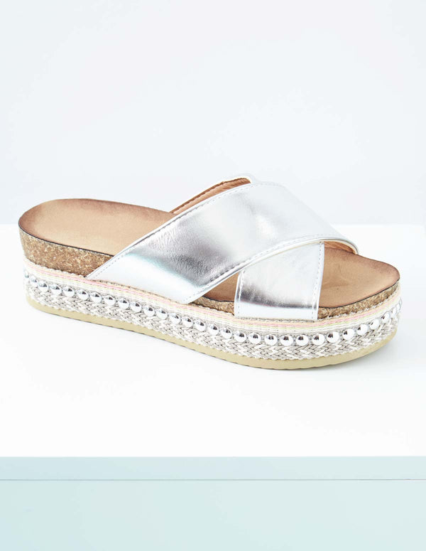 MICAELA - Cross Strap Silver Wedges