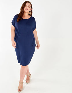 BRIENNE - Navy Oversized Batwing Dress