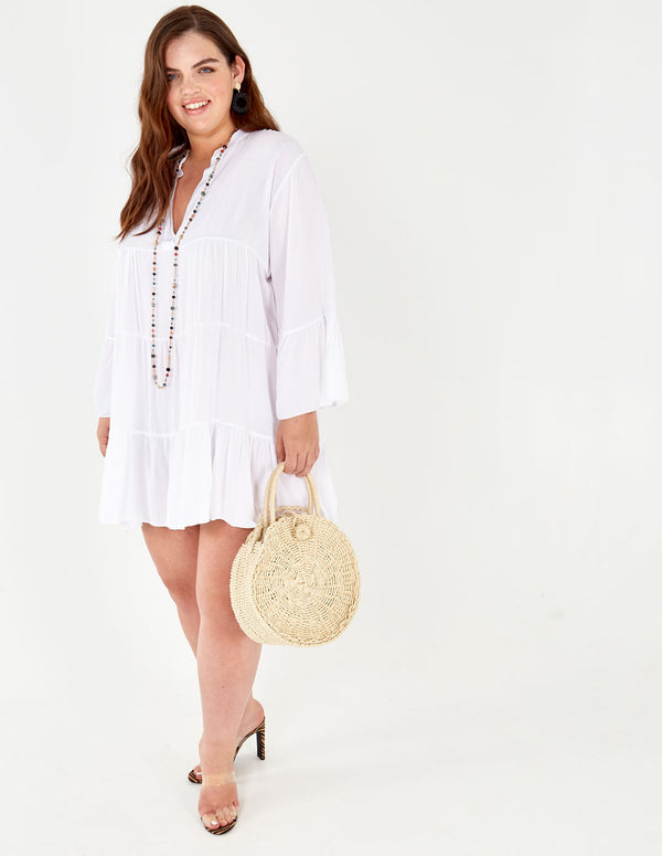 LOTTY - Long Sleeve Oversized White Tunic