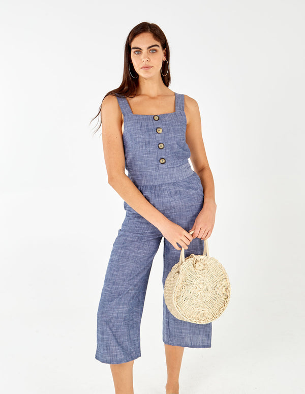 JOLICIA - Denim Blue Chambray Jumpsuit
