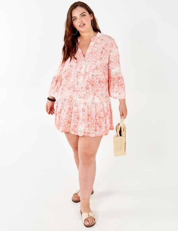 LOTTY - Long Sleeve Floral Print Oversized Pink Tunic