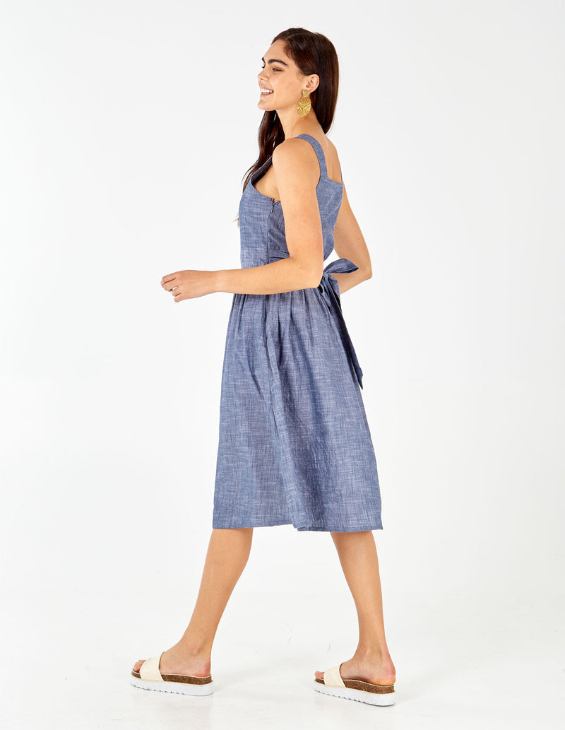 HAIDA - Denim Blue Chambray Dress