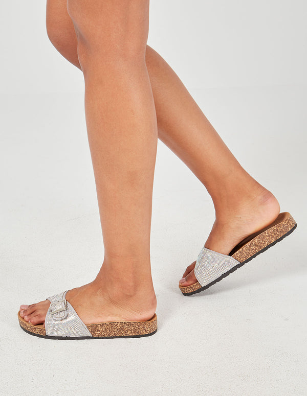 RAGA - Grey Glitter Buckle Slider