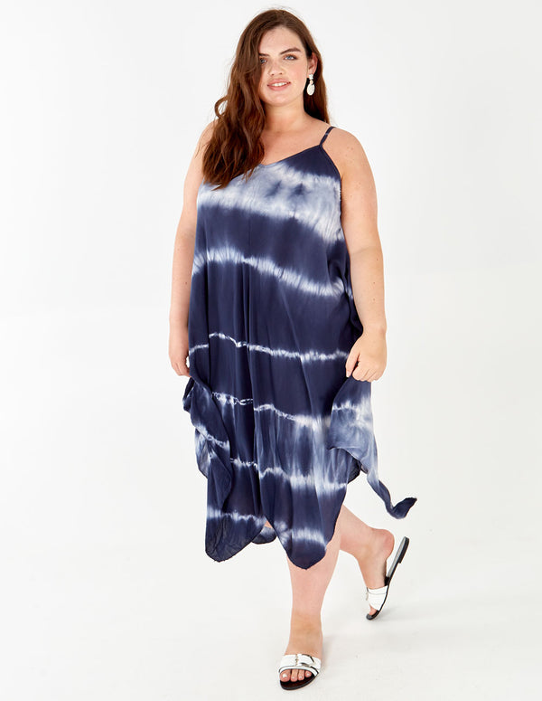 HATTIE - Asymmetric Tie Dye Navy Dress