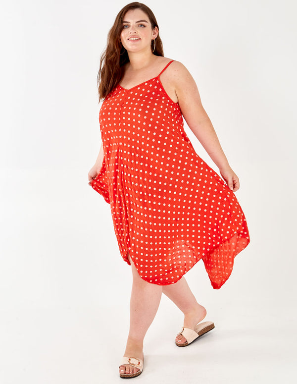 HATTIE - Asymmetric Polka Dot Red Dress