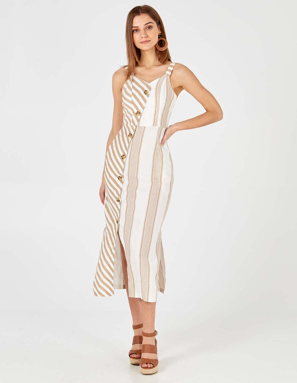PAYAL - Asymetric Button Front Mix Stripe Dress