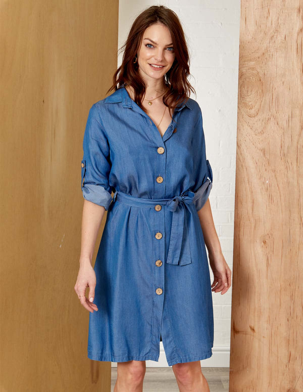 TATTIANA - Button Front Detail Denim Dress