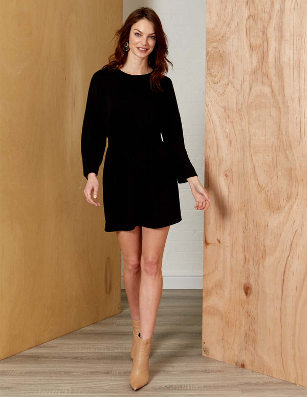 LENA - Round Neck Long Sleeve Belted Black Dress