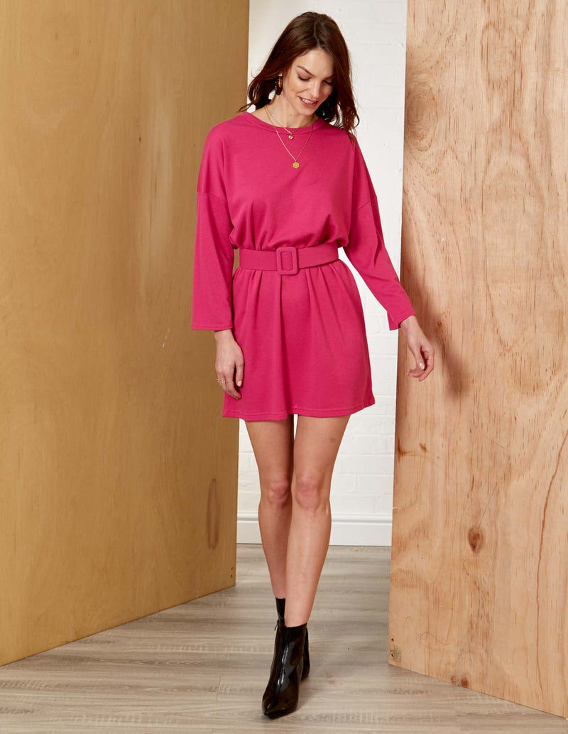 LENA - Round Neck LongSleeve Belted Hot Pink Dress
