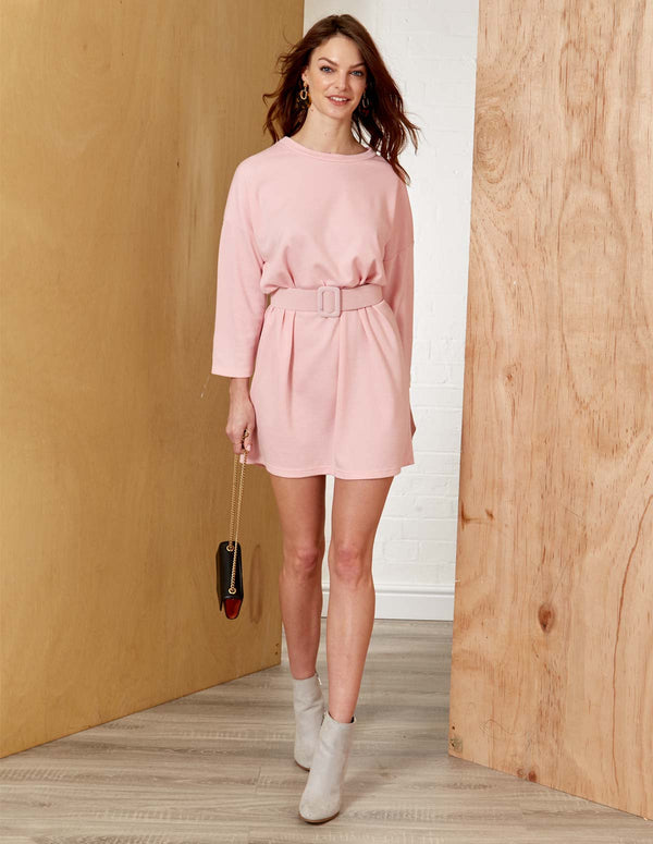 LENA - Round Neck Long Sleeve Belted Dusty Pink Dress