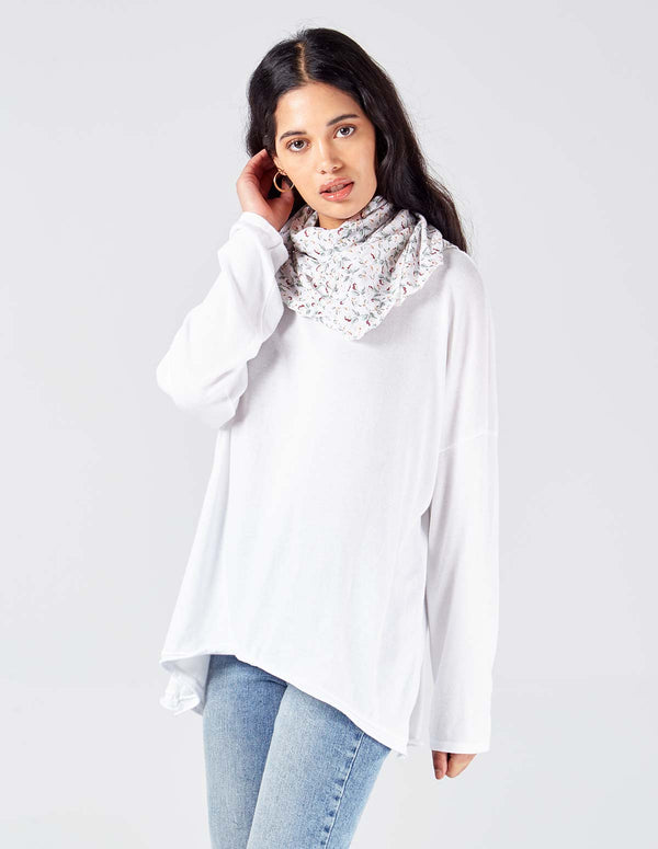 LEYLA - Plain Oversized White Top Printed Scarf