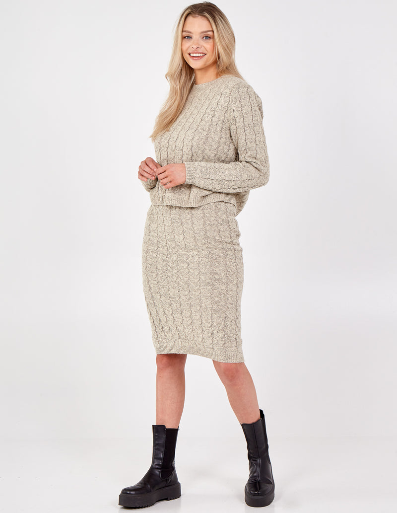 LEONA - Cable Knit Jumper & Skirt Set