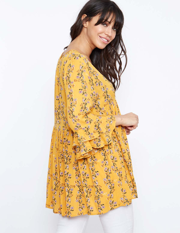 PATRICE - Floral Frill Sleeve Printed Top