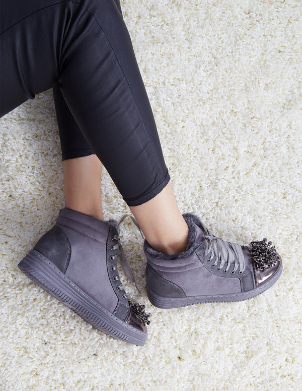 NESSA - Embellished Grey Suede High-Top Trainers