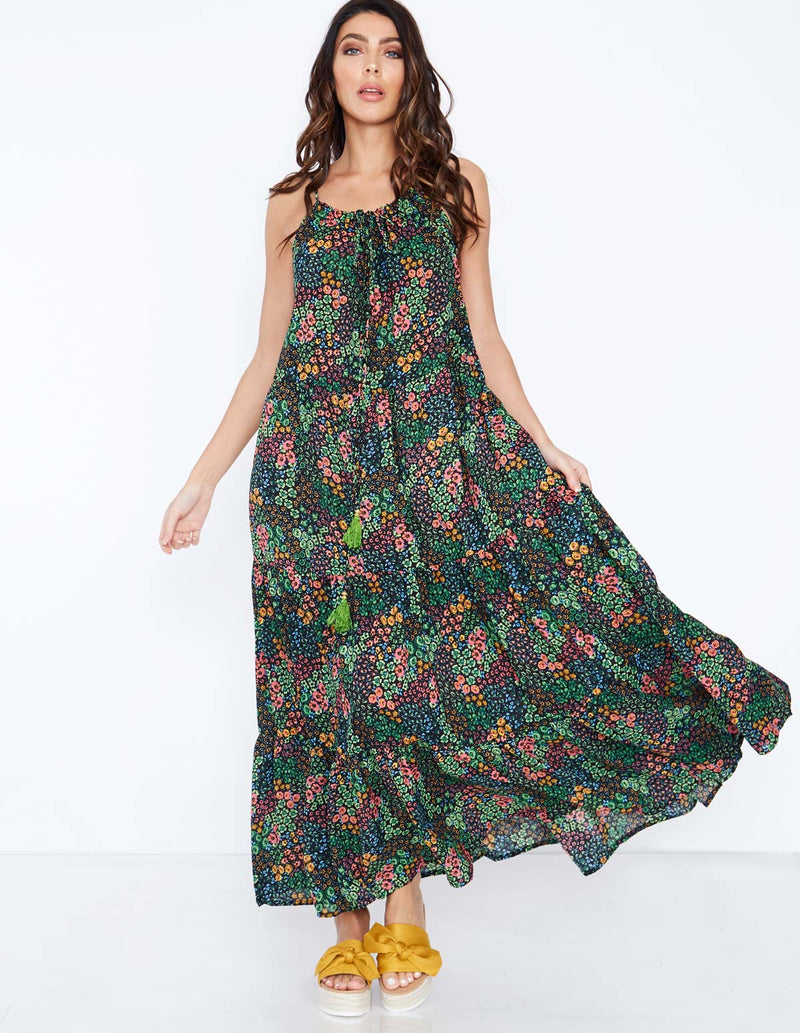 TANDY - Flower Printed Maxi Dress