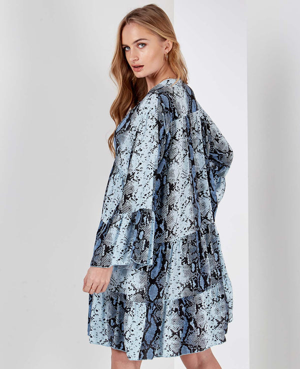 LIBBY - Long Sleeve Snake Print Oversized Blue Tunic