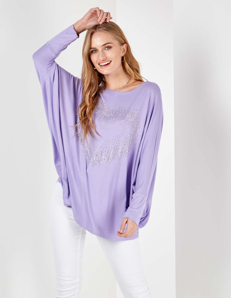 MIA - Oversized Bling Lilac Heart Top
